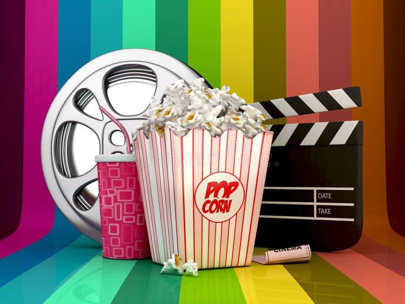 Concepto colorido del cine stock de ilustración