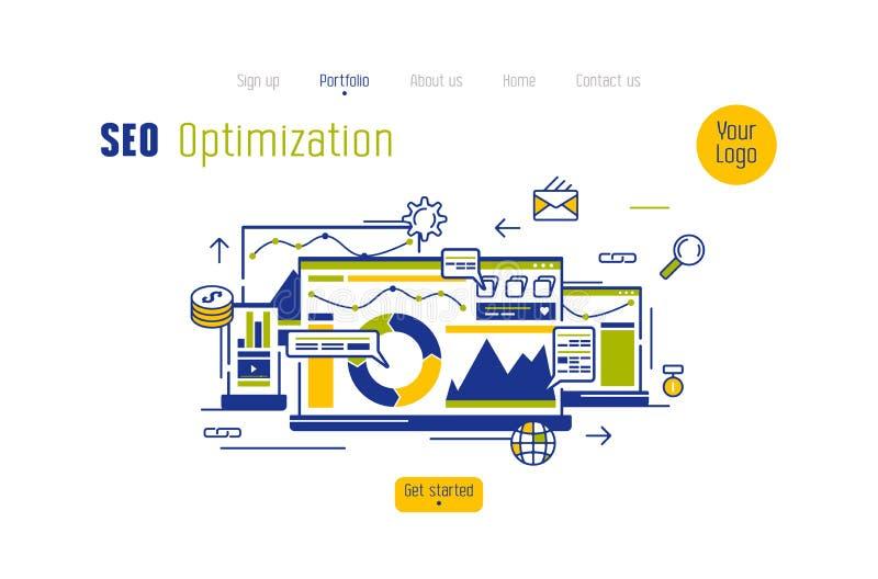 Concepto común del vector de página de aterrizaje para la página web optimizada seo stock de ilustración