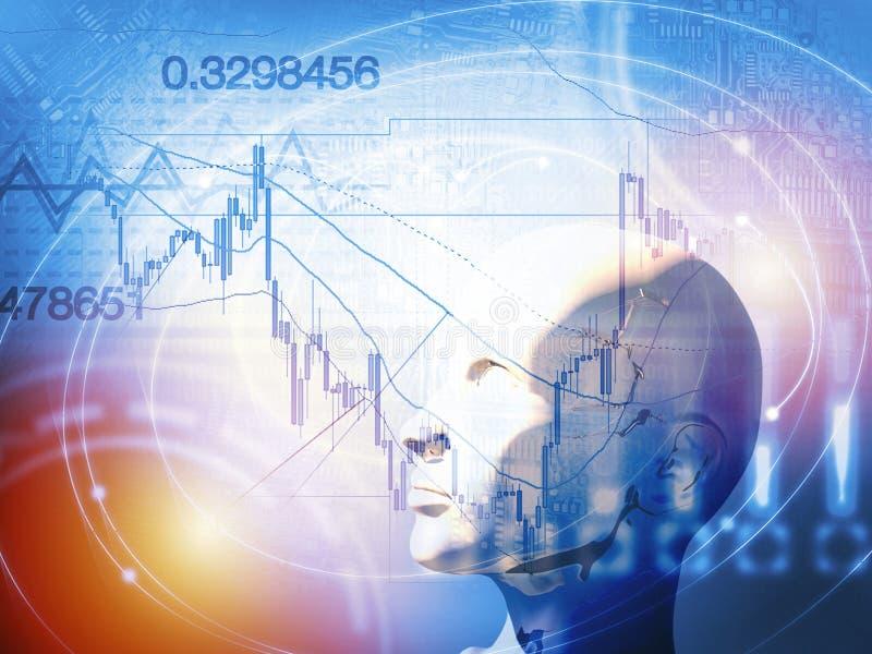 Concepto comercial cuantitativo de la acción y de las divisas con inteligencia artificial stock de ilustración