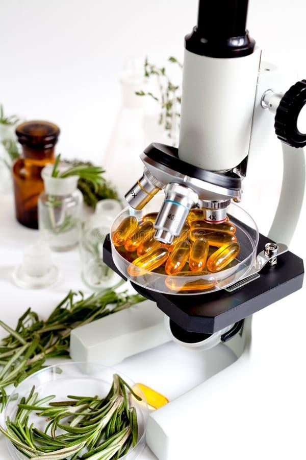 Concepto - compruebe los suplementos dietéticos en laboratorio en el microscopio fotografía de archivo libre de regalías