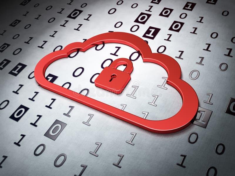 Concepto computacional:  Candado de Whis de la nube en la parte posterior del código binario ilustración del vector