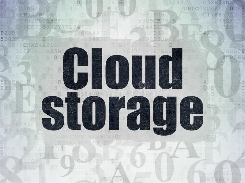 Concepto computacional de la nube: Almacenamiento de la nube en fondo del papel de datos de Digitaces stock de ilustración