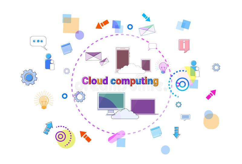Concepto computacional de la nube del negocio, bandera de la tecnología del acceso del almacenamiento de datos remotos libre illustration