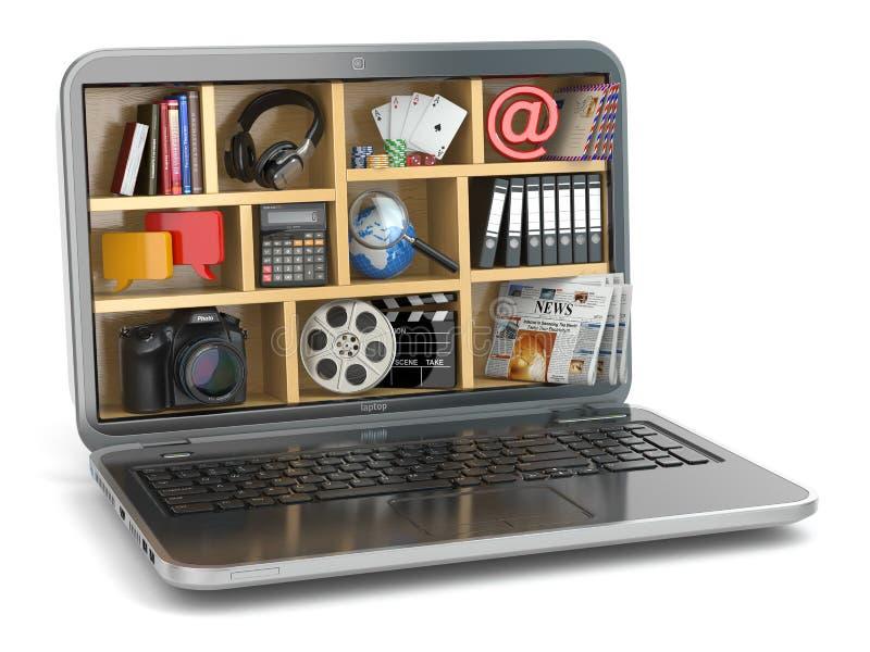 Concepto computacional de la nube El software y las capacidades del ordenador portátil ilustración del vector
