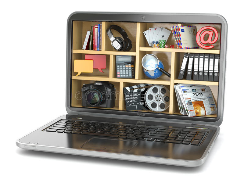 Concepto computacional de la nube El software y las capacidades del ordenador portátil libre illustration