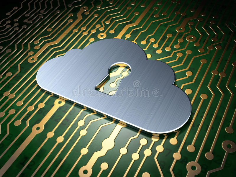 Concepto computacional de la nube: Nube con el ojo de la cerradura encendido ilustración del vector