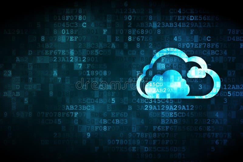 Concepto computacional de la nube: Nube en fondo digital libre illustration