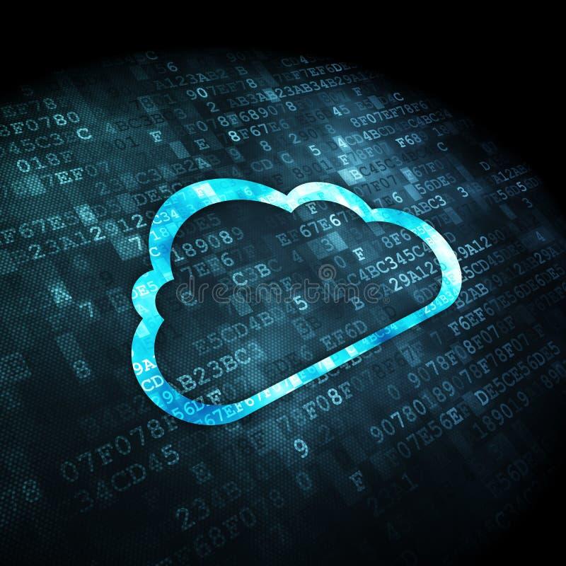 Concepto computacional de la nube: Nube en fondo digital ilustración del vector