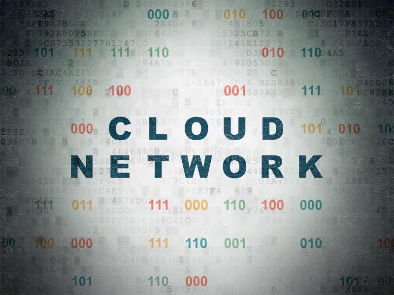 Concepto computacional de la nube: Red de la nube en fondo del papel de datos de Digitaces ilustración del vector