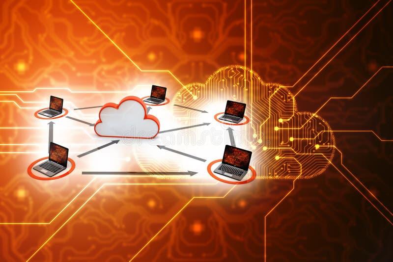 Concepto computacional de la nube, red de la nube representación 3d libre illustration