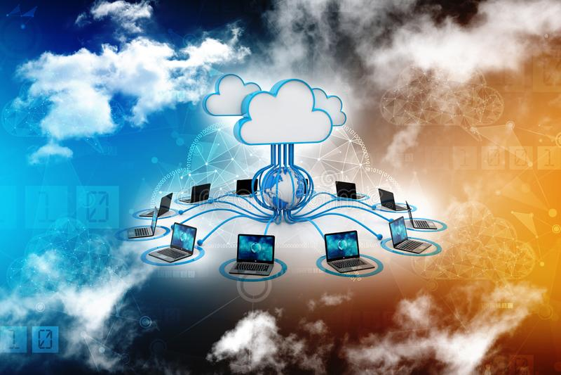 Concepto computacional de la nube, red de la nube representación 3d ilustración del vector