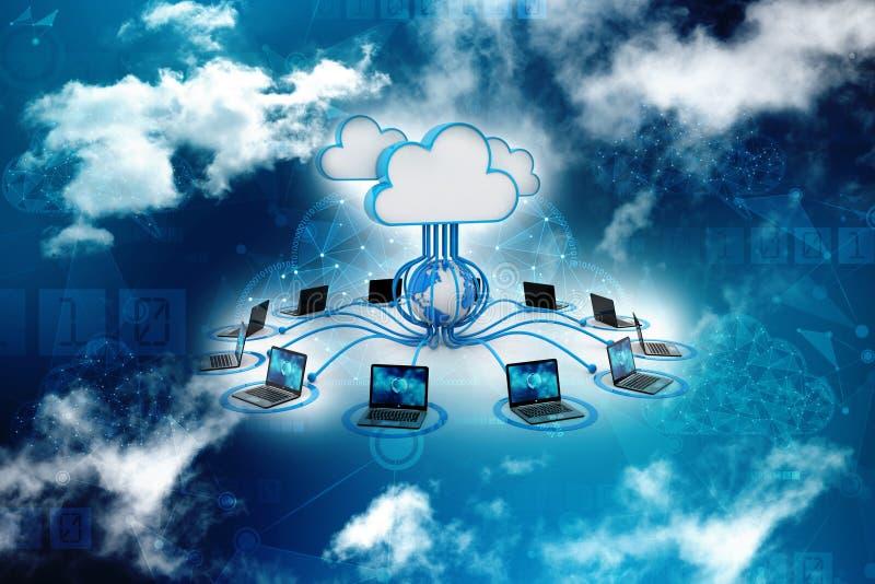 Concepto computacional de la nube, red de la nube representación 3d stock de ilustración