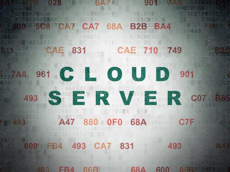 Concepto computacional de la nube: Servidor de la nube en fondo del papel de datos de Digitaces ilustración del vector