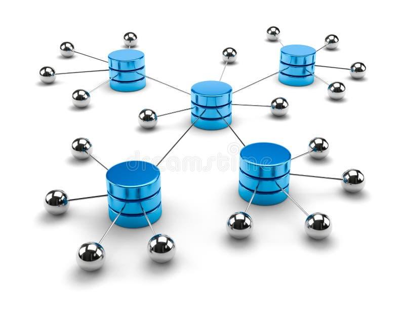 Concepto computacional del almacenamiento de datos de la red stock de ilustración