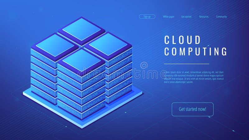 Concepto computacional del servidor de la nube isométrica de la granja libre illustration