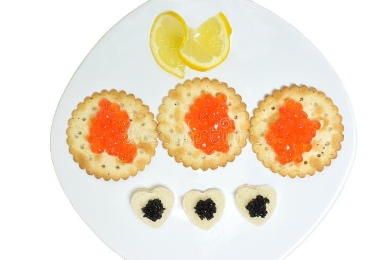 Concepto con el caviar negro y rojo imagenes de archivo