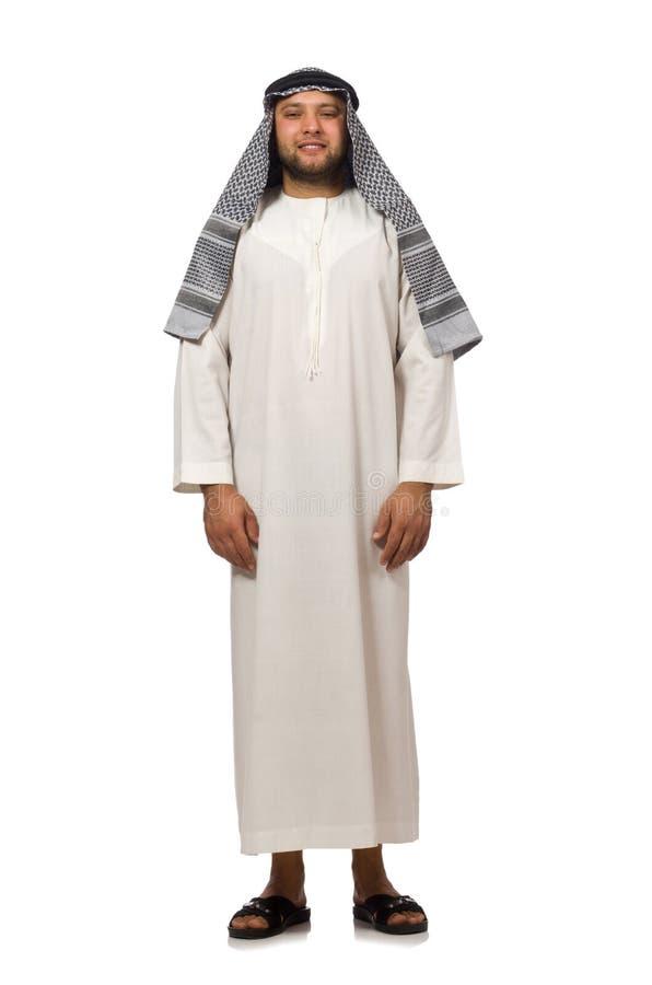 Concepto con el hombre árabe aislado fotografía de archivo