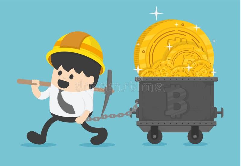 Concepto con el minero y las monedas del hombre de negocios trabajo en el bitcoin MI ilustración del vector