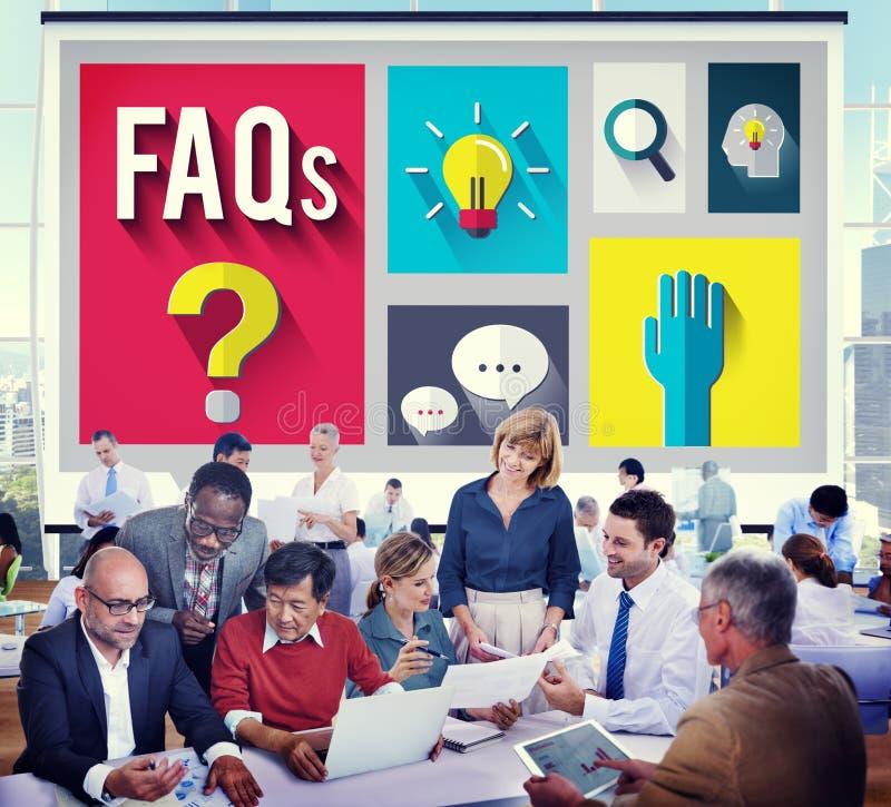 Concepto con frecuencia pedido de la respuesta de la información de la ayuda de las preguntas fotografía de archivo libre de regalías