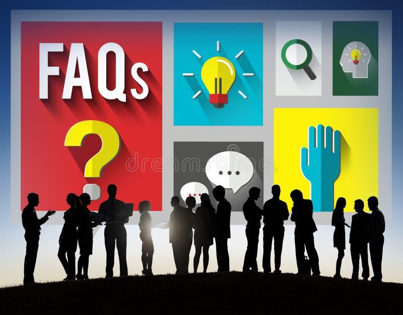 Concepto con frecuencia pedido de la respuesta de la información de la ayuda de las preguntas fotografía de archivo