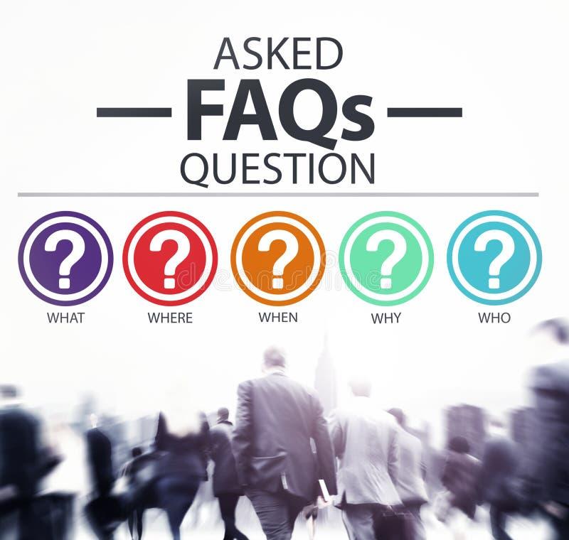 Concepto con frecuencia pedido de los problemas del FAQ de las preguntas fotos de archivo