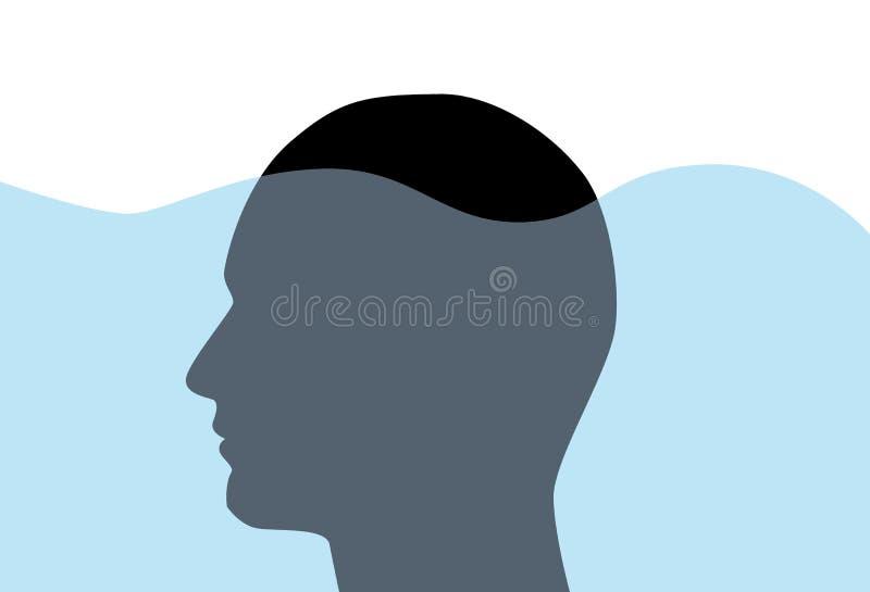 Concepto con la silueta de la cara del hombre debajo del agua, vector de la mente subconsciente fotografía de archivo libre de regalías