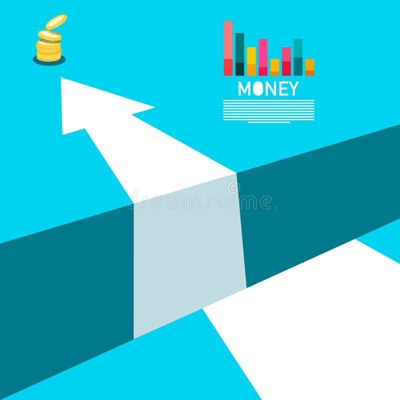Concepto con las monedas del dinero, gráfico del negocio stock de ilustración