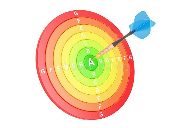 Concepto con los dardos, del rendimiento energético representación 3D ilustración del vector