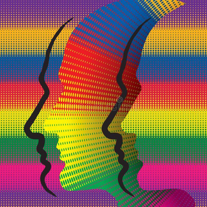 Concepto con perfiles humanos. stock de ilustración
