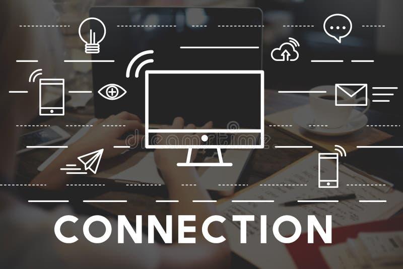 Concepto conectado conexión del enlace del Social del establecimiento de una red foto de archivo