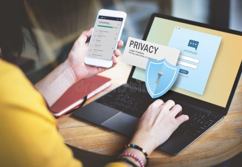 Concepto confidencial de la soledad de la seguridad de la protección de la privacidad fotografía de archivo