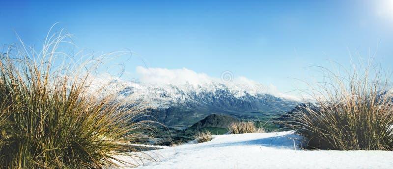 Concepto congelado paisaje frío de la nieve de la montaña del invierno imágenes de archivo libres de regalías