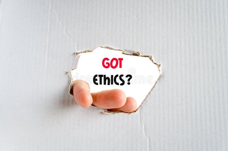 Concepto conseguido del texto de los éticas imagen de archivo libre de regalías