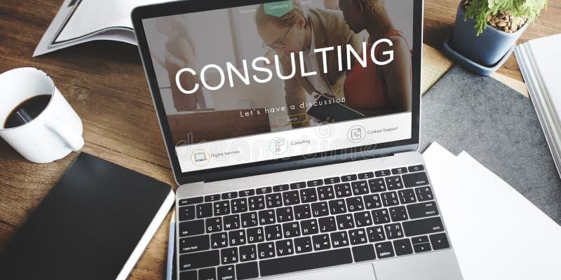 Concepto consultivo asesor de la dirección de la sugerencia de la ayuda imagen de archivo