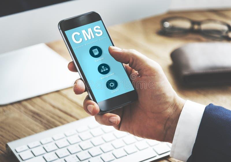 Concepto contento de CMS de la estrategia de sistema de gestión foto de archivo libre de regalías
