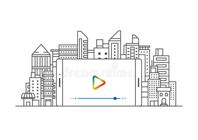 Concepto contento video y edificio del márketing del vector ilustración del vector