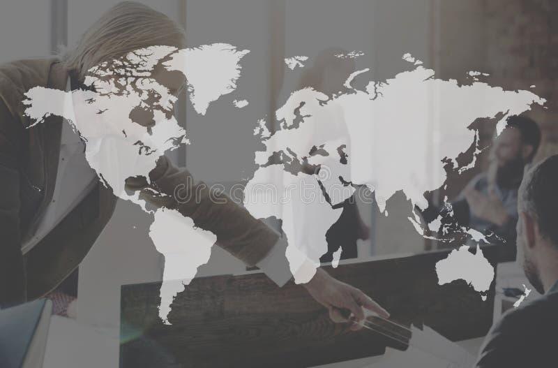Concepto continente mundial del márketing del mundo de Businees foto de archivo