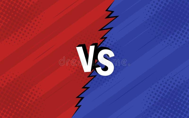Concepto CONTRA contra Diseño retro de la lucha, rojo y azul de los fondos de los tebeos del estilo con el tono medio, relámpago libre illustration