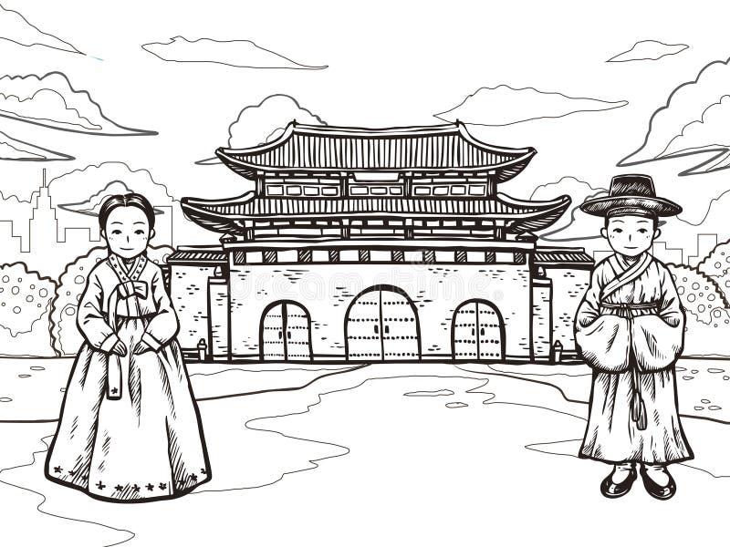 Concepto coreano del viaje stock de ilustración
