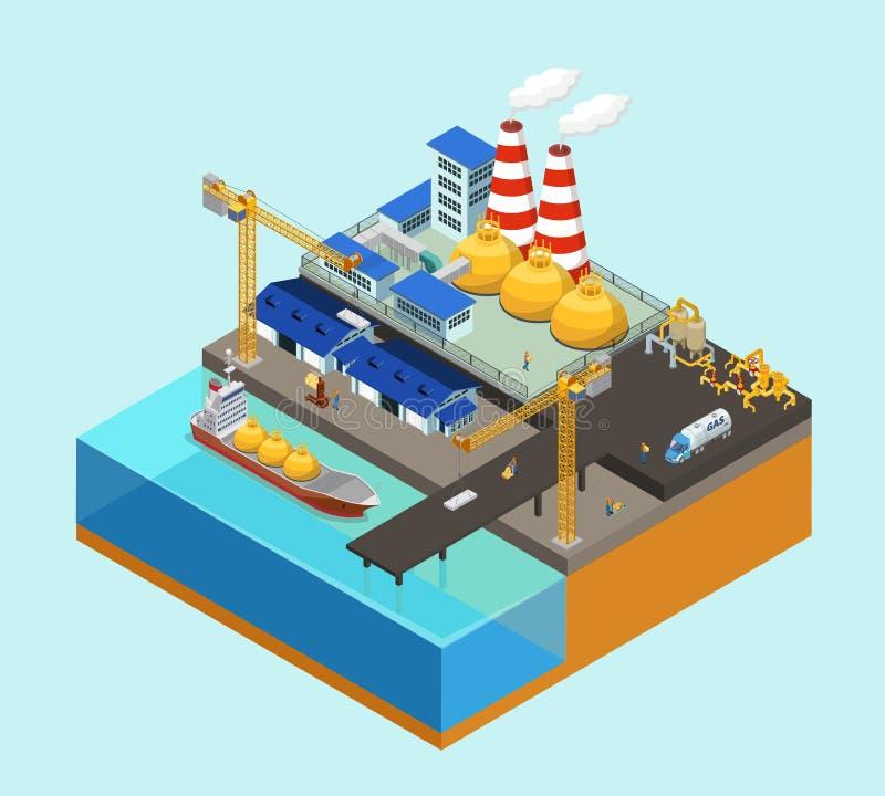 Concepto costero de la industria del gas isométrico ilustración del vector