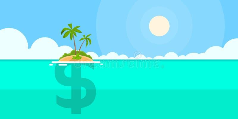 Concepto costero de la isla de la muestra de dólar plano stock de ilustración