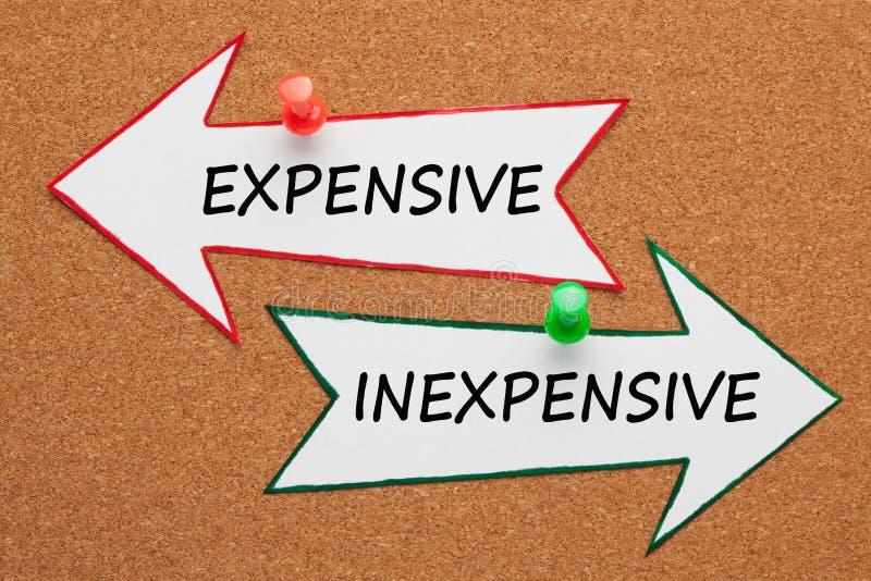 Concepto costoso barato imágenes de archivo libres de regalías