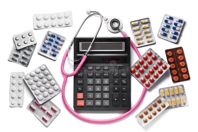 Concepto costoso de la medicina Drogas y p?ldoras imagen de archivo libre de regalías