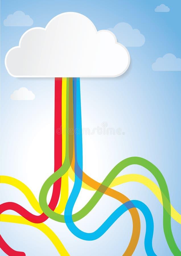 Concepto creativo abstracto para el libro, Internet, la nube que computa, la creatividad y el negocio de la historia ilustración del vector