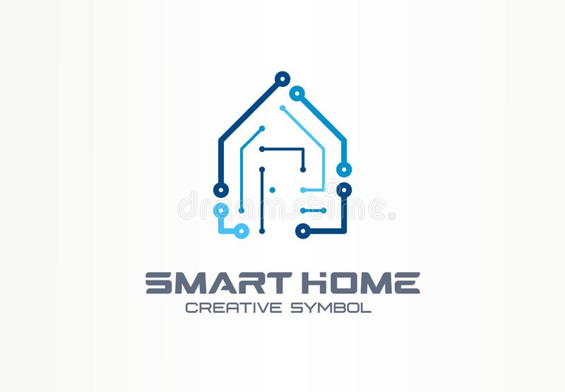 Concepto creativo casero elegante de la tecnología del símbolo Sistema del edificio de la automatización de la seguridad en logot libre illustration