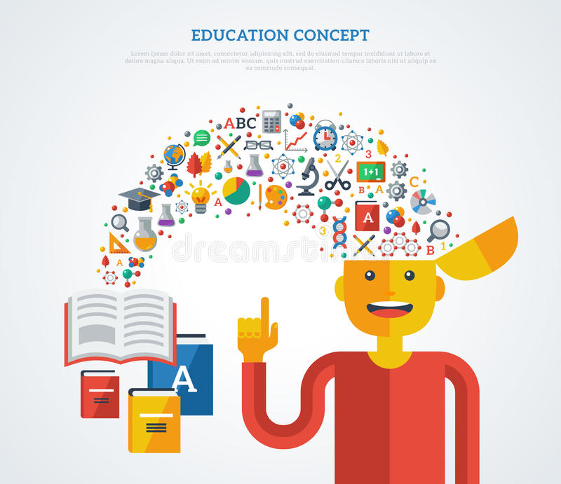Concepto creativo de educación stock de ilustración