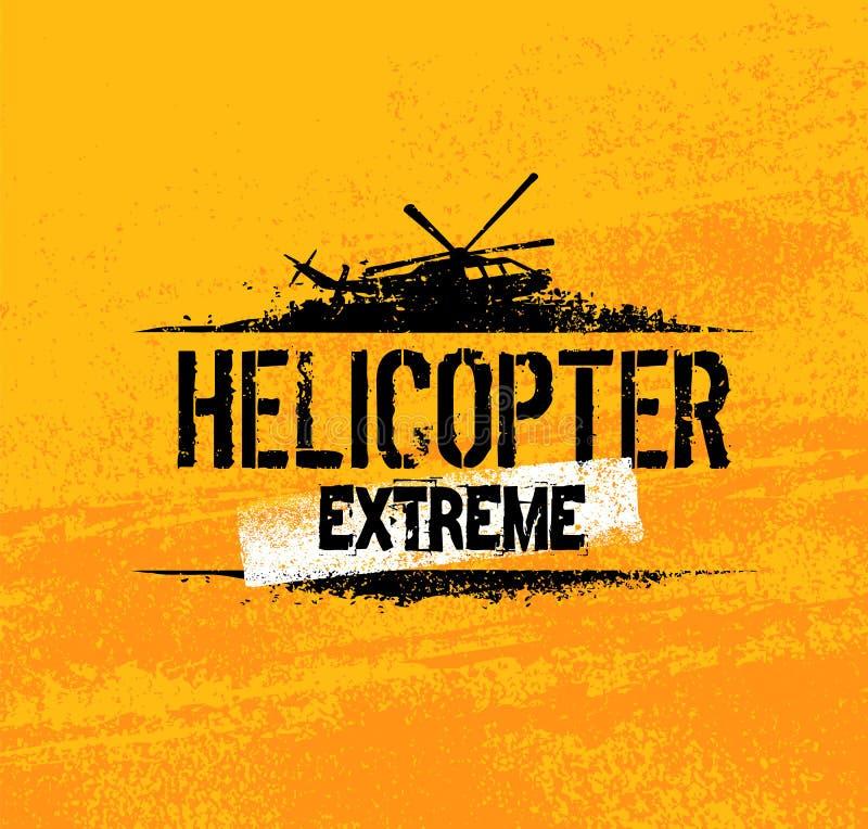 Concepto creativo de la bandera del vector del paseo extremo del helicóptero en fondo del Grunge libre illustration
