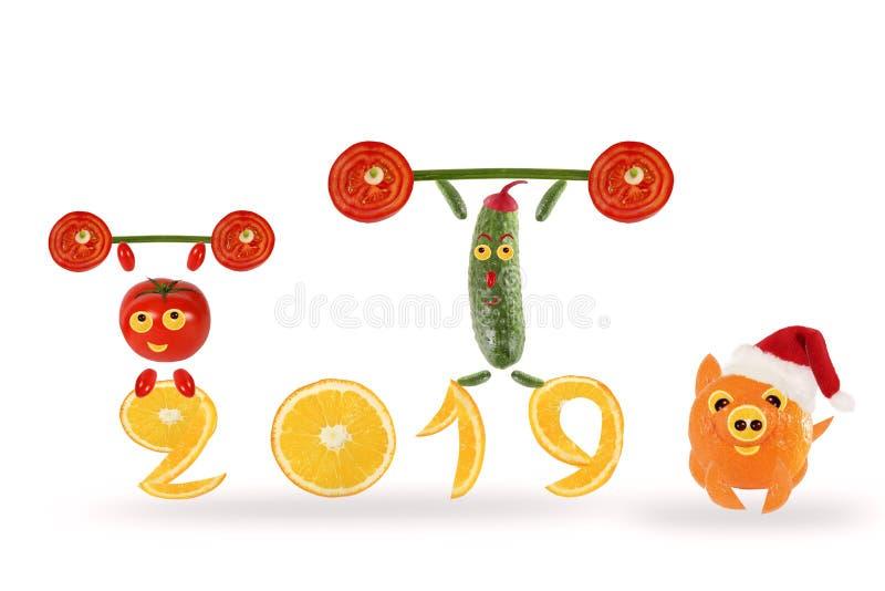 Concepto creativo de la comida Pequeñas verduras divertidas con 2019 Feliz Año Nuevo stock de ilustración
