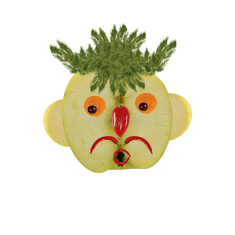 Concepto creativo de la comida Retrato divertido hecho de manzanas, verdura ilustración del vector