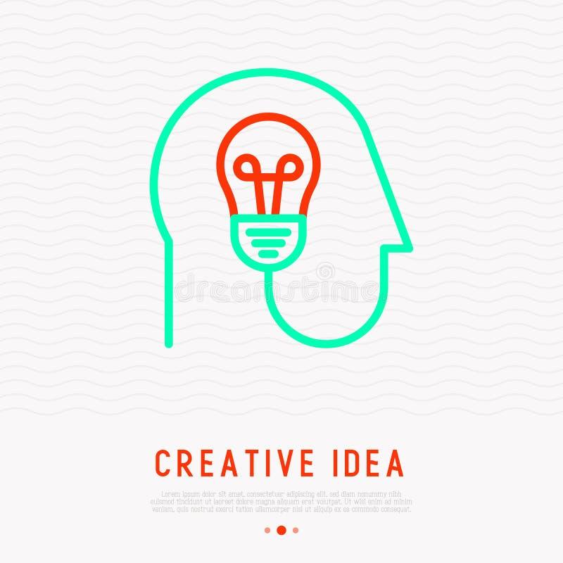 Concepto creativo de la idea: bulbo en cabeza humana ilustración del vector